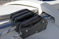 Starboard Spinlock XAS rope clutches installed. From left to right: kicker, first reef, main halyard, topping lift.