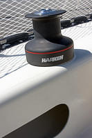 The new Harken 32.2 winch is in place. I like the winch does not reflect sunlight.