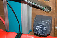 Two channel Mastervolt battery charger I got with the boat, dual sense relay I installed together with batteries and cabling.