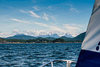 Sailing in Malaspina Strait. Note the snowy peaks.